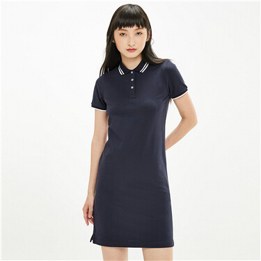 Contrast stretchy pique polo dress