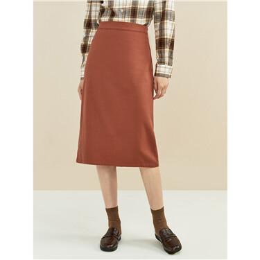 Split back half elastic waist skirt