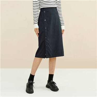 Single-breasted mid-rise skirt