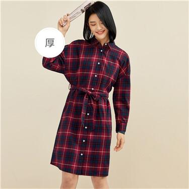 Flannel dropped-shoulder ribbon dress