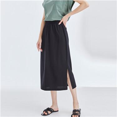 Single split elastic waistband skirt