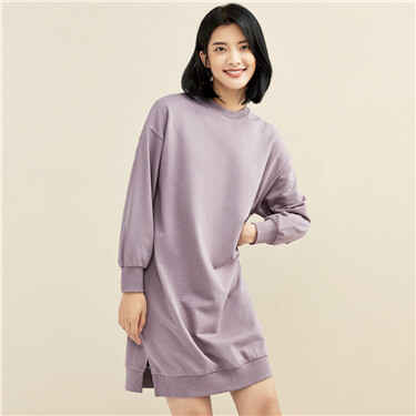 Loose dropped-shoulder puff sleeves dress