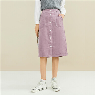 Corduroy single-breasted skirt