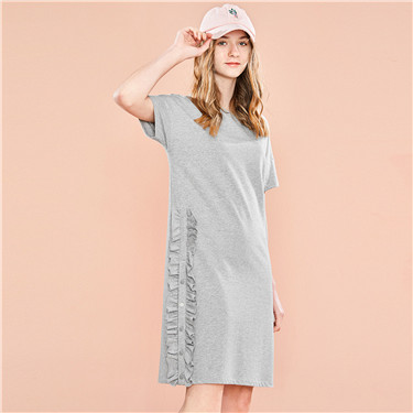 Ruffled hem short-sleeve dress