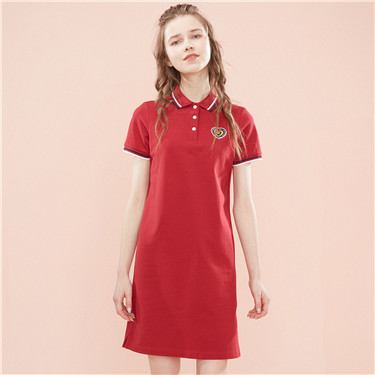 Embroidered stretchy polo dress