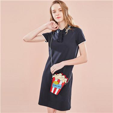 褶皱前筒弹力棉POLO连衣裙