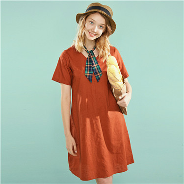 V neck linen-cotton dress