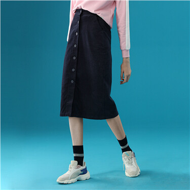 Button closure corduroy skirt