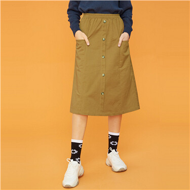 Button Closure Elastic Waistband Skirts