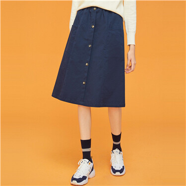 Button closure elastic waistband skirt