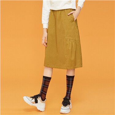 Elastic waistband solid skirt