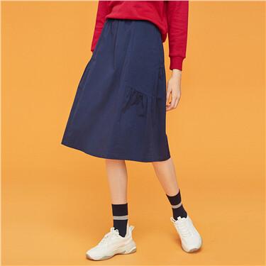 Elastic Waistband Solid Skirt