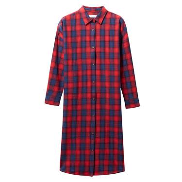 法兰绒纯棉衬衫连衣裙