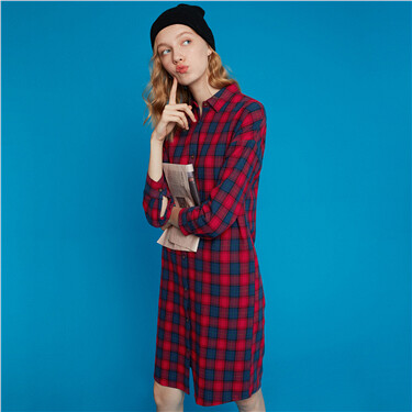 Flannel Cotton Shirt Dress