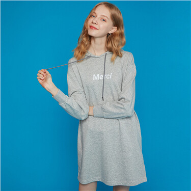 Embroidery hooded long-sleeve dress