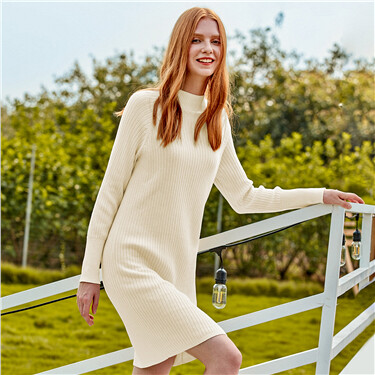 Solid mockneck knitted dress
