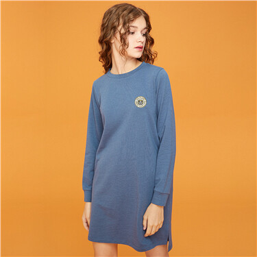 Panda embroidery o-neck long-sleeve dress