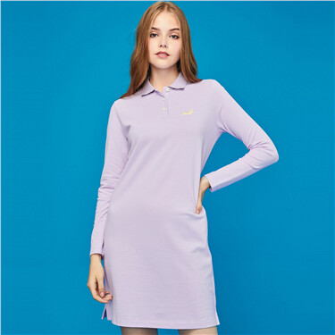 Embroidery long-sleeve polo dress