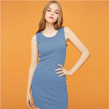 Solid Ribbed Sleeveless Dress