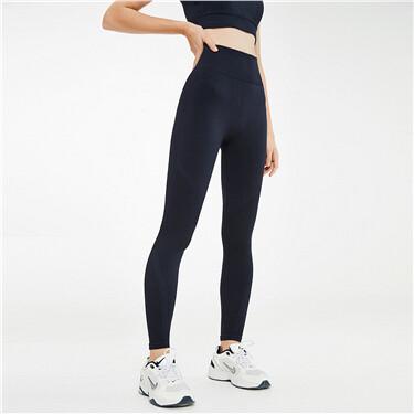 Elastic mid-rise collage yoga pants