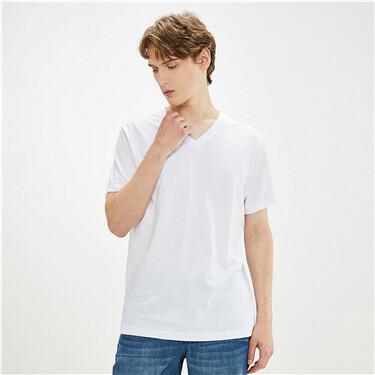 Plain cotton v-neck t-shirt