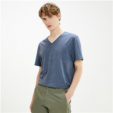 Plain cotton v-neck t-shirt