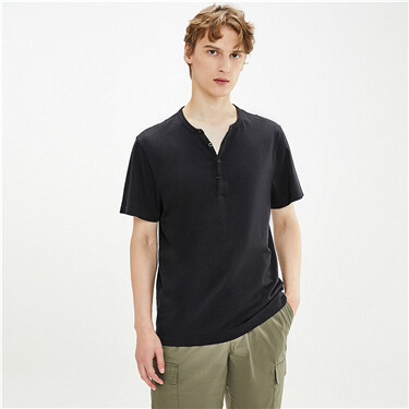 Cotton plain henley neck t-shirt