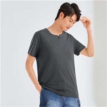 Cotton henley neck t-shirt
