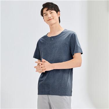 纯棉一颗扣亨利领短袖T恤