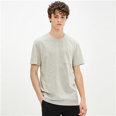 Slub cotton single patch pocket tee