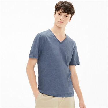 Plain ribbed v-neck short-sleeve tee