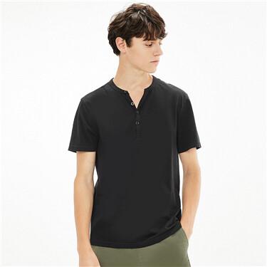 Plain henley-neck short-sleeve tee
