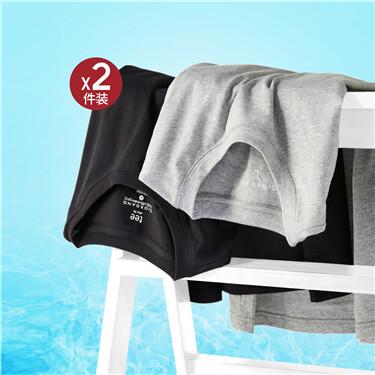 两件装纯棉纯色修身圆领短袖T恤