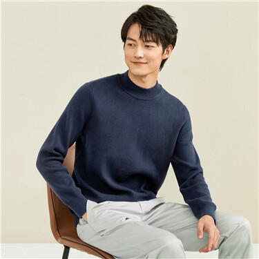 纯色半高领长袖套头针织衫