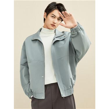 Loose dropped-shoulder stand collar jacket
