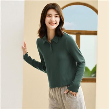Solid color lotus edge short polo shirt