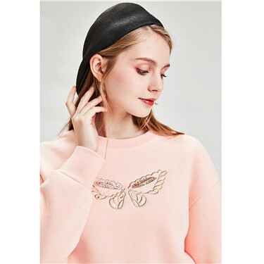 Butterfly sequins embroidery sweatshirt