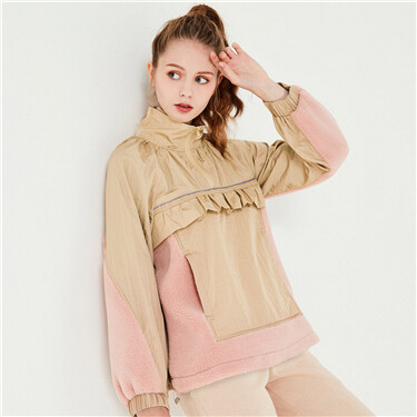 Joint scalloped sleeves stand collar jacket