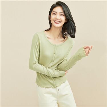 Lotus crewneck long-sleeve short knit tee