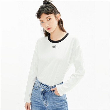 Printed letter loose contrast tee
