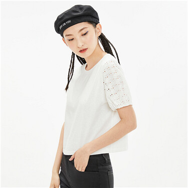 纯棉拼接镂空短袖短款圆领T恤
