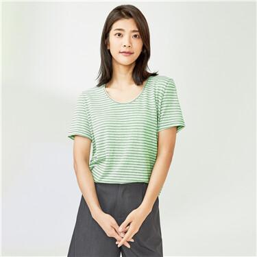 拼色条纹圆领针织短袖T恤