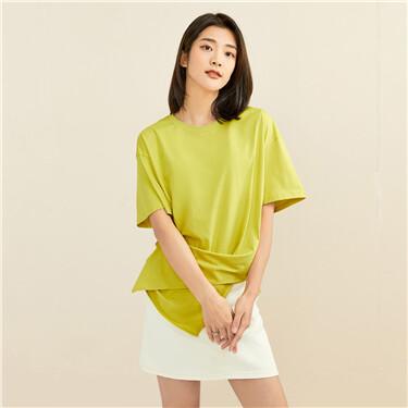 纯棉两穿不对称宽松圆领短袖T恤