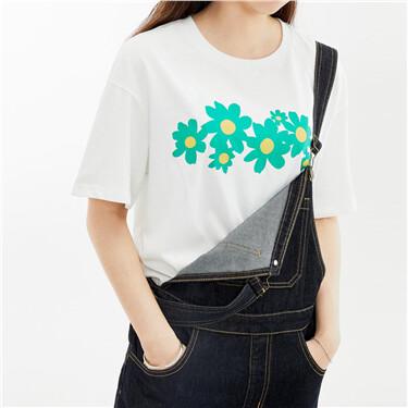 纯棉花朵印花宽松落肩圆领短袖T恤