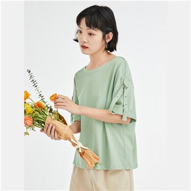 纯棉宽松可扣起短袖圆领T恤