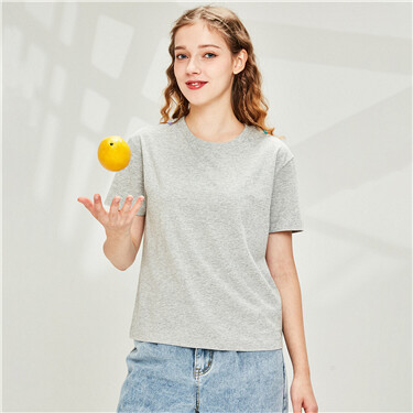 纯棉纯色圆领短袖T恤