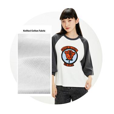 Printed raglan sleeves loose contrast tee