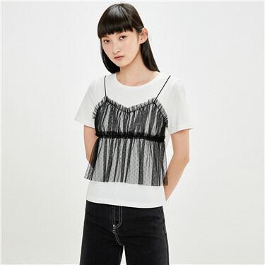 纯棉拼接网纱圆领短袖T恤