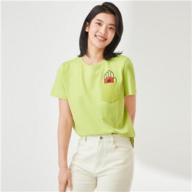 纯棉印花口袋圆领短袖T恤