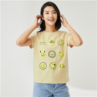 纯棉笑脸表情印花圆领短袖T恤